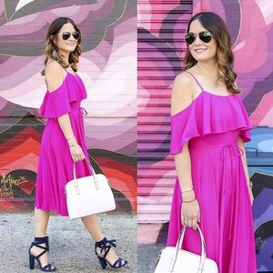 CeCe Hot Plum Jackie A-Line Dress